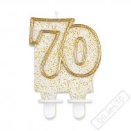 Narozeninová svíčka Glitter Gold číslo 70