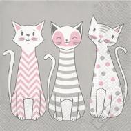Papírové party ubrousky Kočičky