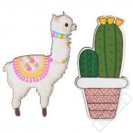 Dřevěné konfety na stůl Lama a kaktus