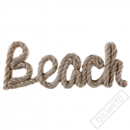 Přírodní dřevěný nápis s lanem Beach