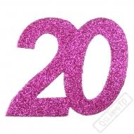Glitrová dekorace číslo 20 růžová