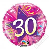 Narozeninový balónek Star 30 růžový, 45cm