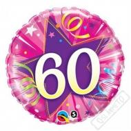 Narozeninový balónek Star 60 růžový, 45cm