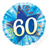 Narozeninový balónek Star 60 modrý, 45cm