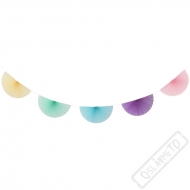 Papírová party girlanda vějířová Pastel Rainbow