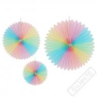 Závěsné papírové rozety Pastel Rainbow