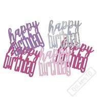Dekorační konfety na stůl narozeninové růžové