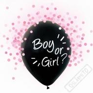 Latexové balónky s konfetami Boy or Girl růžové