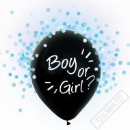 Latexové balónky s konfetami Boy or Girl modré