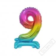 Nafukovací balónek se stojánkem číslo 9 Duha 38cm