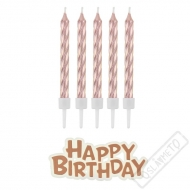 Svíčky na dort perleťové s nápisem Rose-gold
