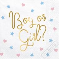 Papírové party ubrousky Boy or girl
