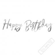 Fóliový nápis Happy Birthday stříbrný