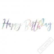 Fóliový nápis Happy Birthday perleťový