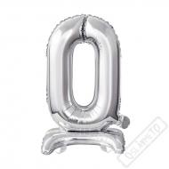 Nafukovací balónek se stojánkem číslo 0 Silver 38cm