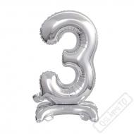 Nafukovací balónek se stojánkem číslo 3 Silver 38cm