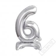 Nafukovací balónek se stojánkem číslo 6 Silver 38cm