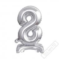 Nafukovací balónek se stojánkem číslo 8 Silver 38cm