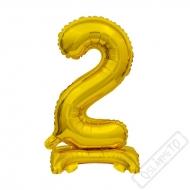 Nafukovací balónek se stojánkem číslo 2 Gold 38cm