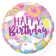 Nafukovací balónek narozeninový Happy 45cm