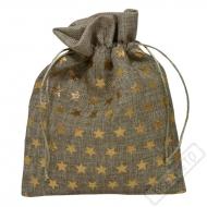 Dárkový sáček přírodní Zlaté hvězdy