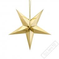 Závěsná dekroace papírová hvězda zlatá