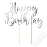 Dekorace do dortu Nápis Happy Birthday stříbrný