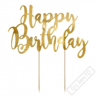 Dekorace do dortu Nápis Happy Birthday zlatý