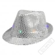 Svítící klobouk Pop Star stříbrný