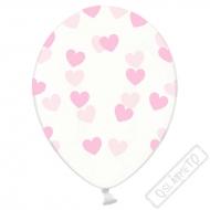 Latexový balónek se srdíčky Crystal Pink