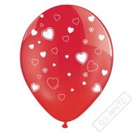 Latexový balónek se srdíčky Crystal Poppy Red