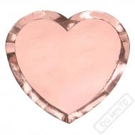 Papírové party talíře ve tvaru srdce Rose-gold