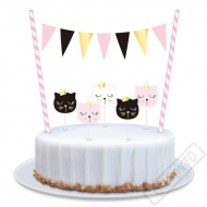 Dekorace do dortu s vlaječkami Kočka