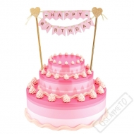 Dekorace do dortu Happy Birthday růžová