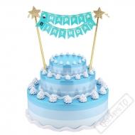 Dekorace do dortu Happy Birthday modrá