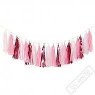 Papírová girlanda s třásněmi růžová