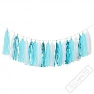 Papírová girlanda s třásněmi modrá