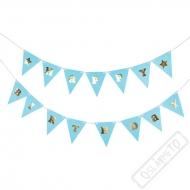 Party girlanda vlajky Happy Birthday modrá