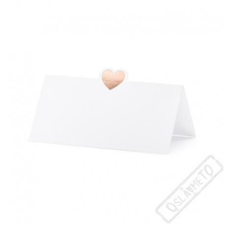 Papírové jmenovky na stůl Srdce Rose-gold