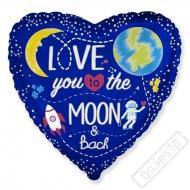 Nafukovací balónek fóliový Srdce Moon 45cm