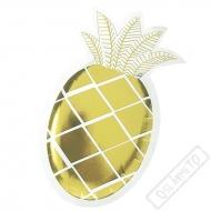 Papírové party talířky Ananas zlatý