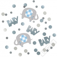 Dekorační konfety na stůl Baby Slon modré