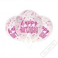 Narozeninové latexové balónky s konfetami růžové