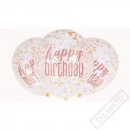 Narozeninové latexové balónky s konfetami Rose-Gold