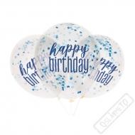 Narozeninové latexové balónky s konfetami modré