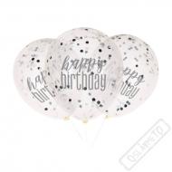 Narozeninové latexové balónky s konfetami Grey