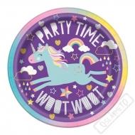 Papírové party talířky Jednorožec Violet