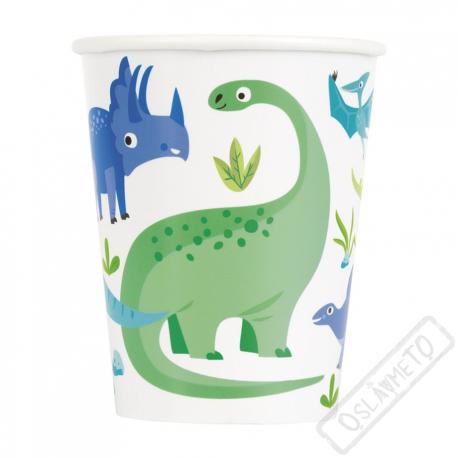 Papírové party kelímky Dinosauři