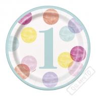 Papírové party talířky 1. narozeniny Pastel