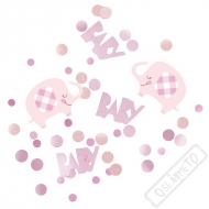 Dekorační konfety na stůl Baby Slon růžové